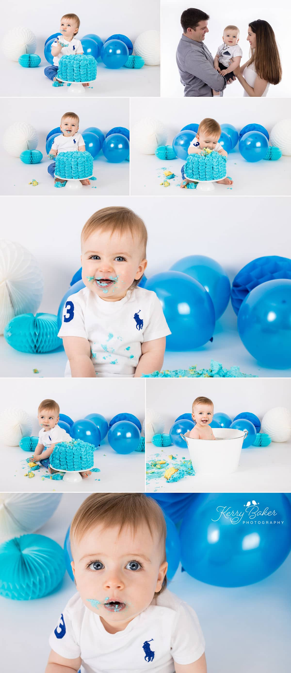 Cake smash for baby boy in perth with balloons