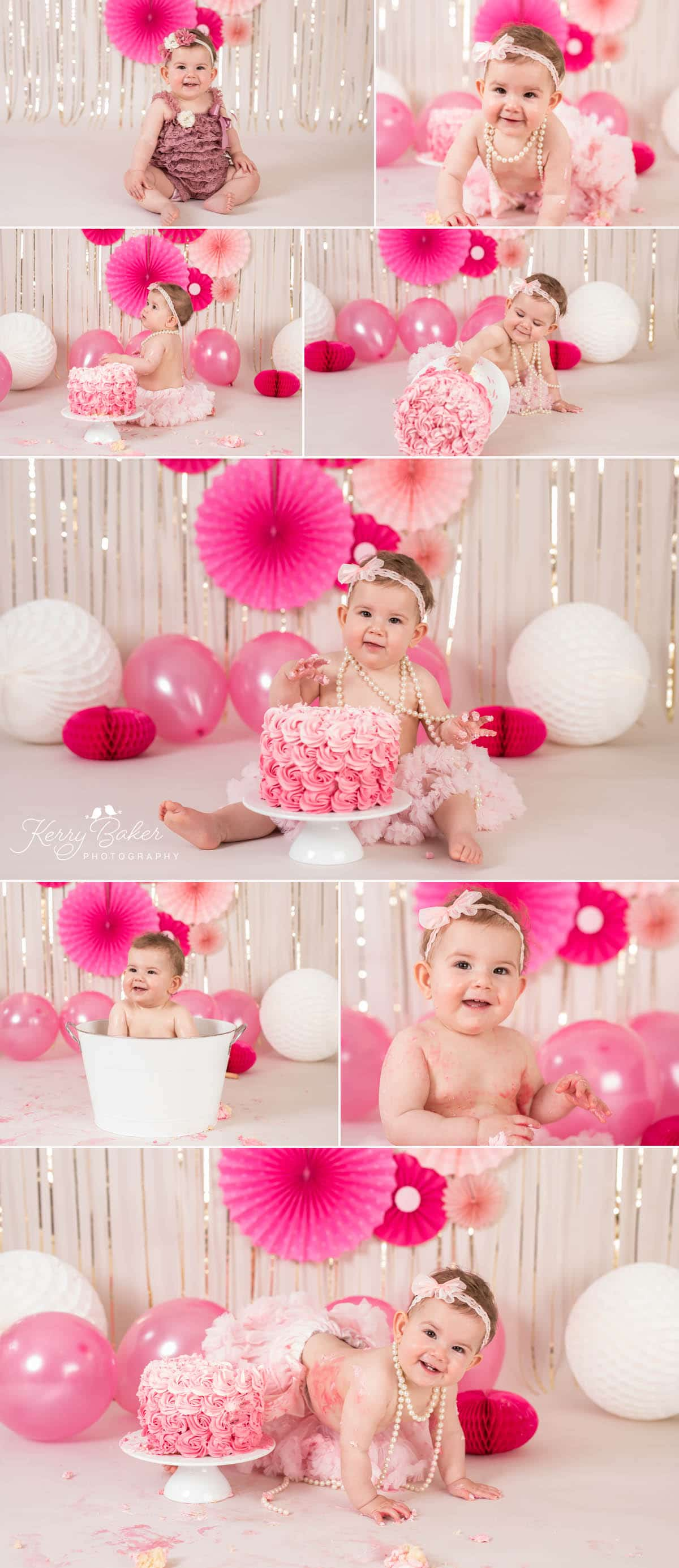 first birthday cake pink rosette frosting cake smash