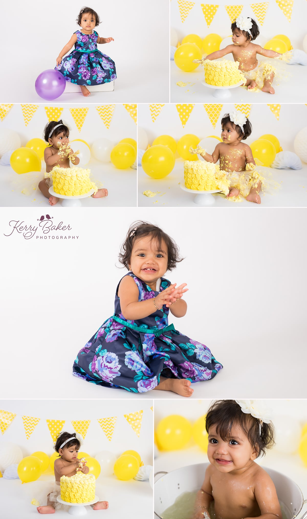 yellow cake smash photo girl first birthday