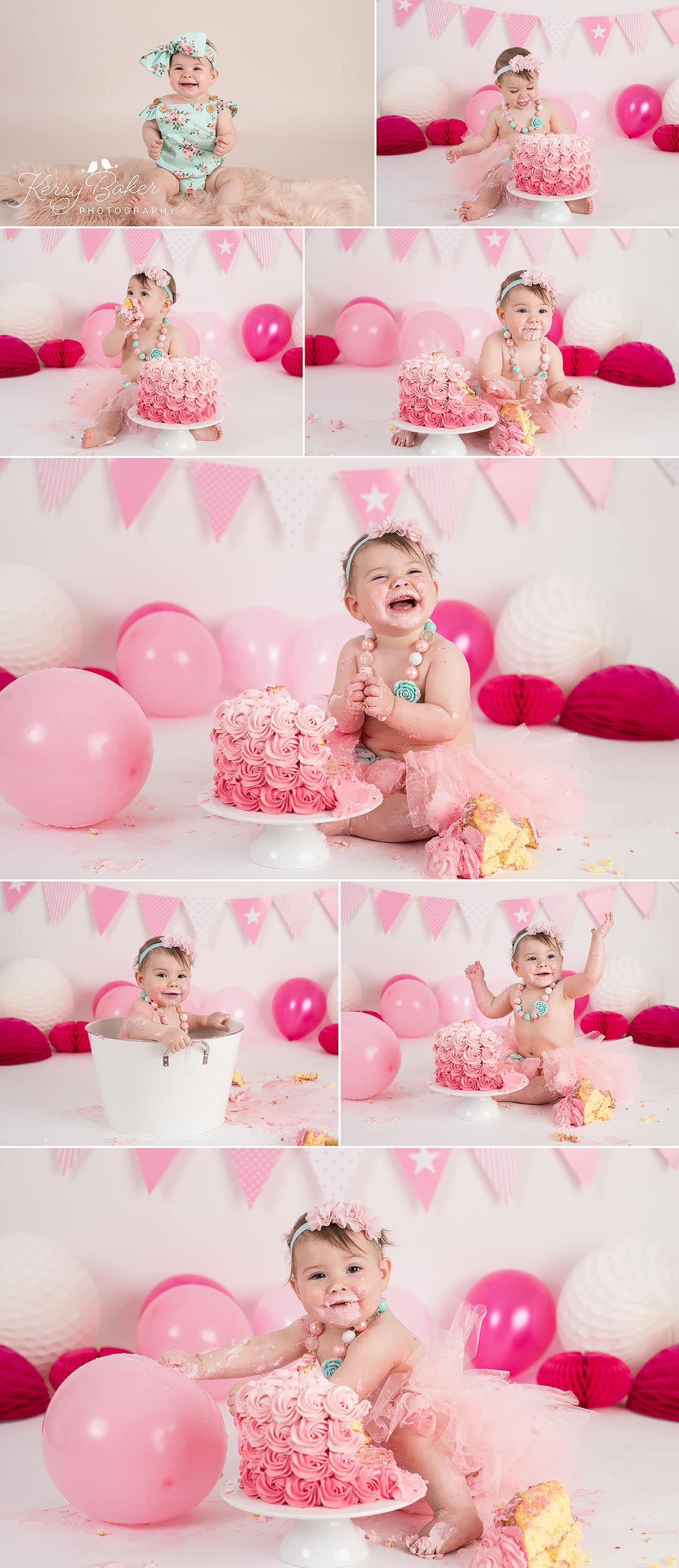pink cake smash 11 month old girl