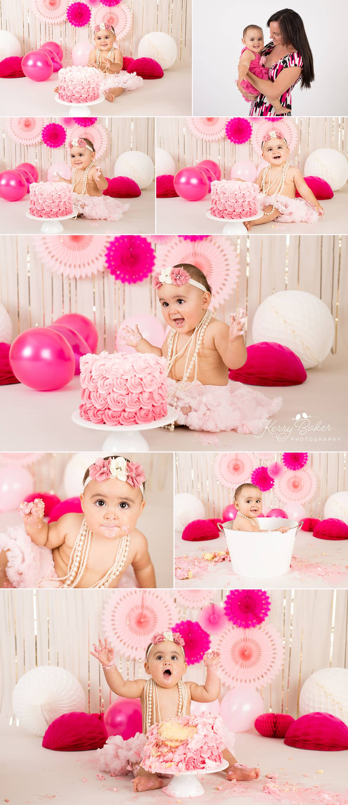 pink smash the cake photos in perth with baby girl Eden