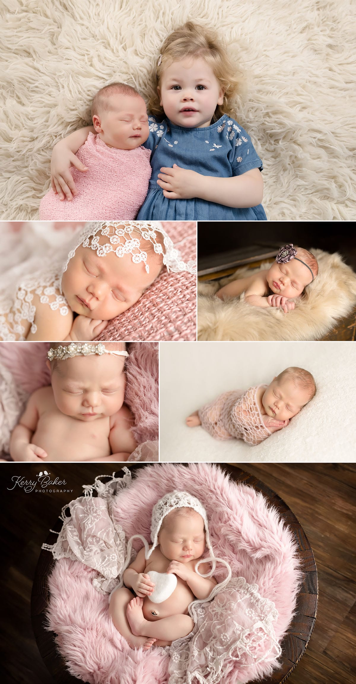 newborn sibling photo side pose, newborn studio lighting