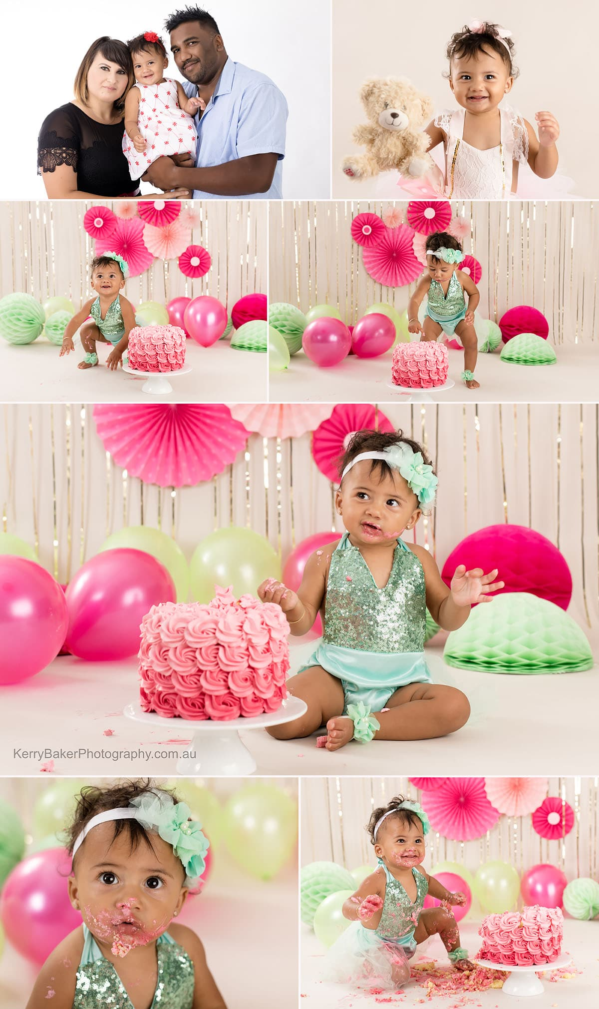 girl cake smash green and pink