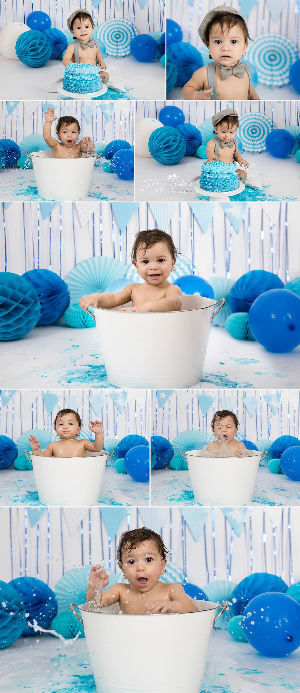 Cake Smash Photography Perth Ezra Splashing in the bath 1st Birthday