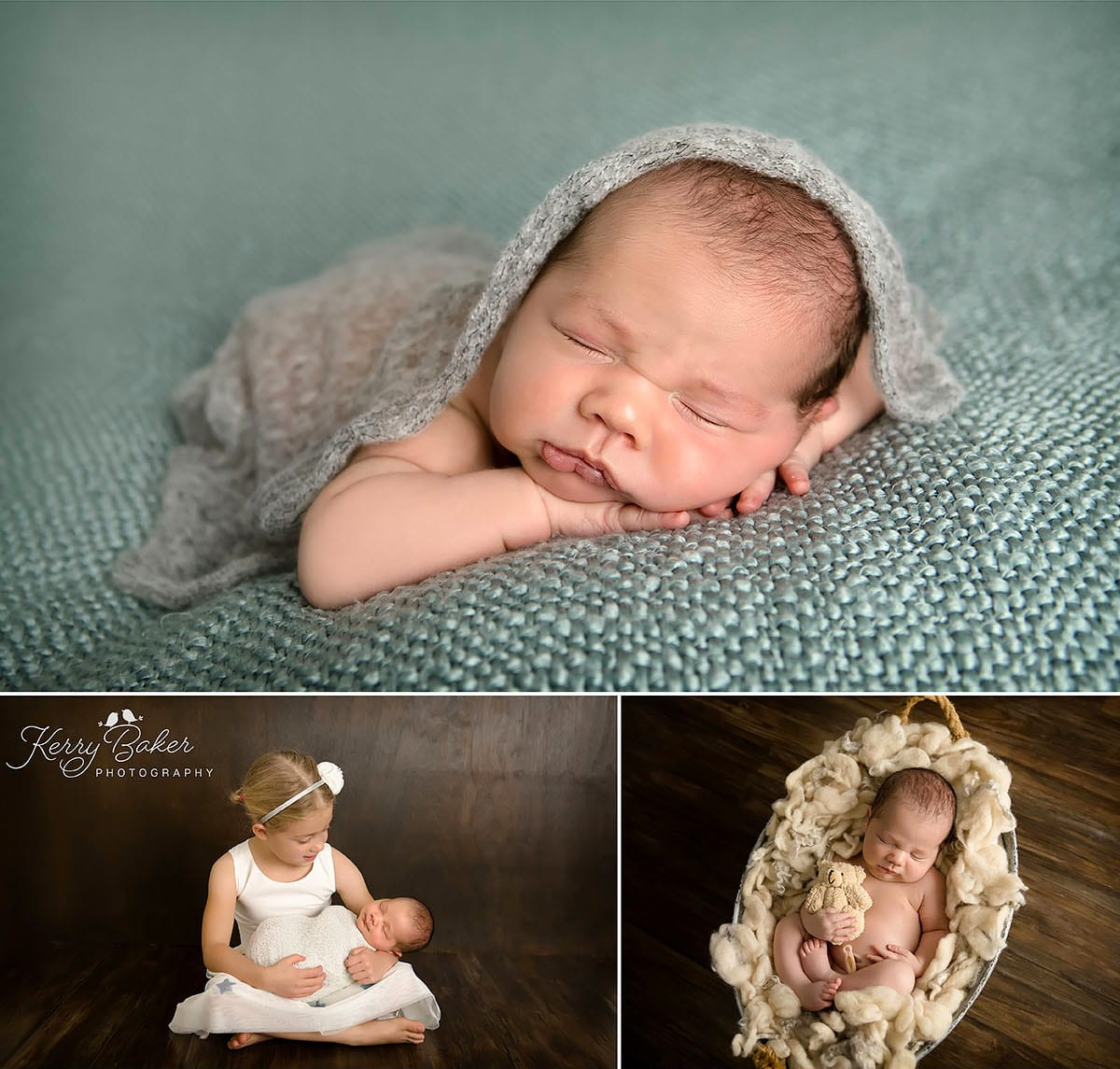 baby laying on tummy studio photos