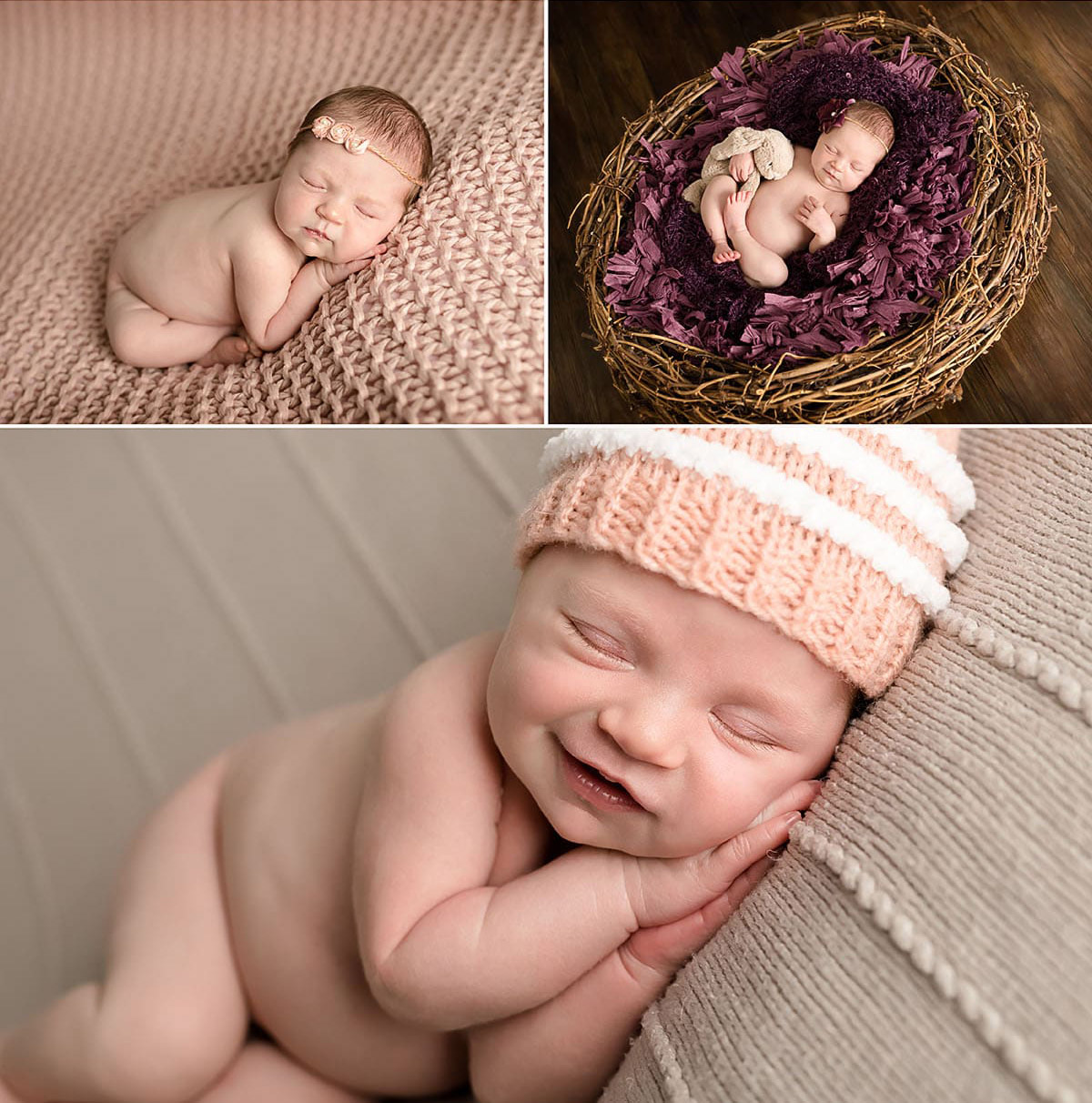 newborn baby's huge smile whilst having a newborn photo session