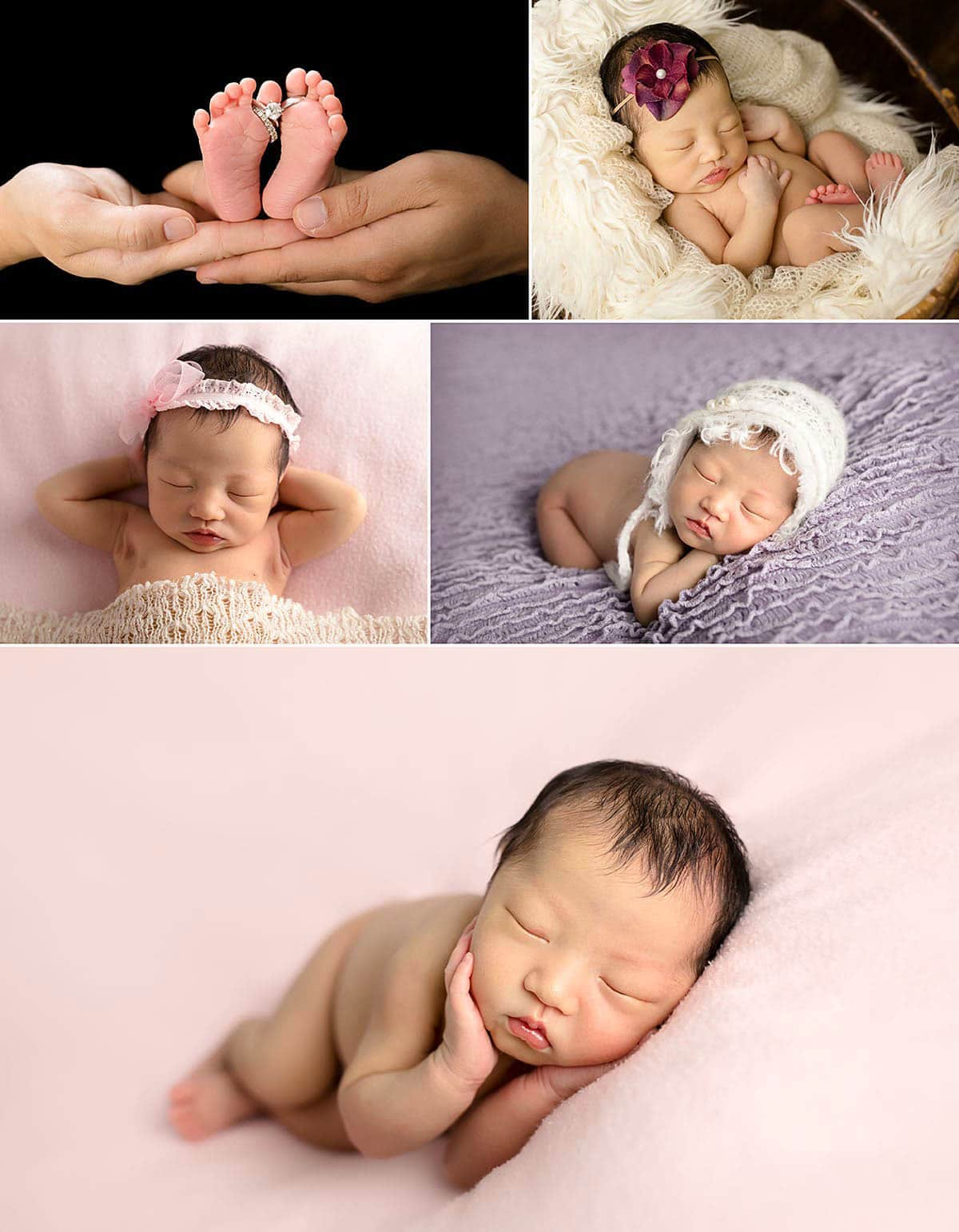 newborn baby girl side and tummy posing