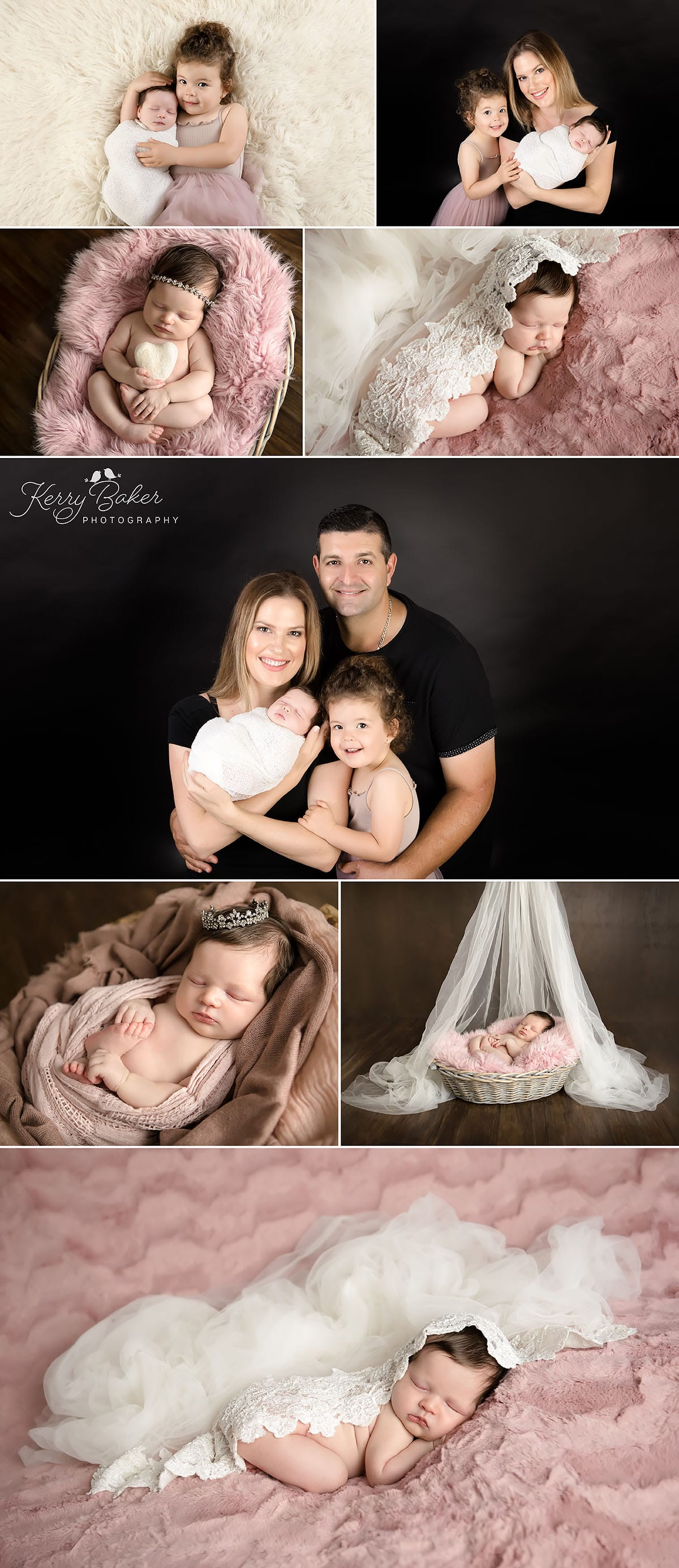 Newborn baby posed with bridal wedding veil Family and Sibling photos Perth