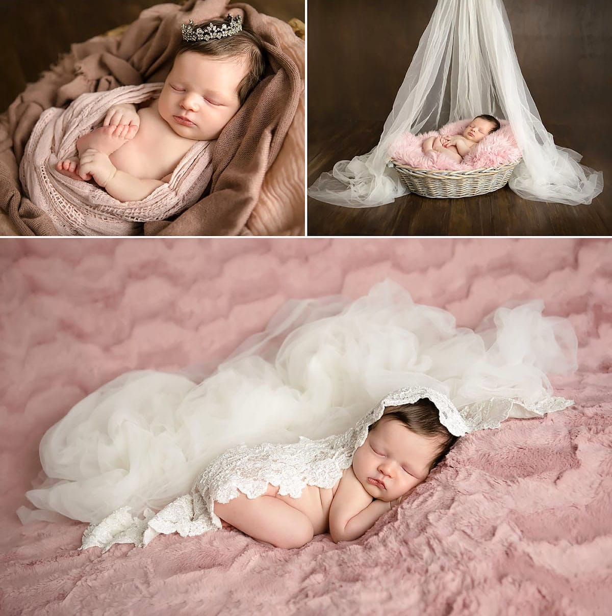 newborn baby posing with mums wedding veil