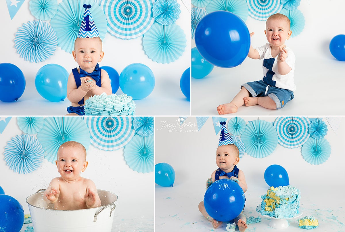 blue cake and blue balloon with baby boy