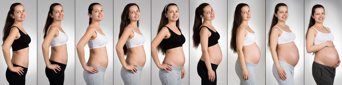 Woman with different stages of pregnancy