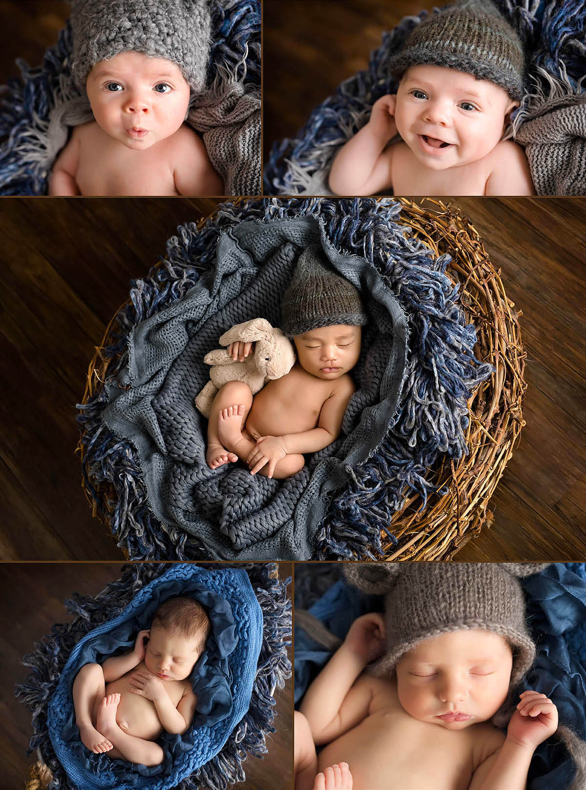 newborn boy on blue